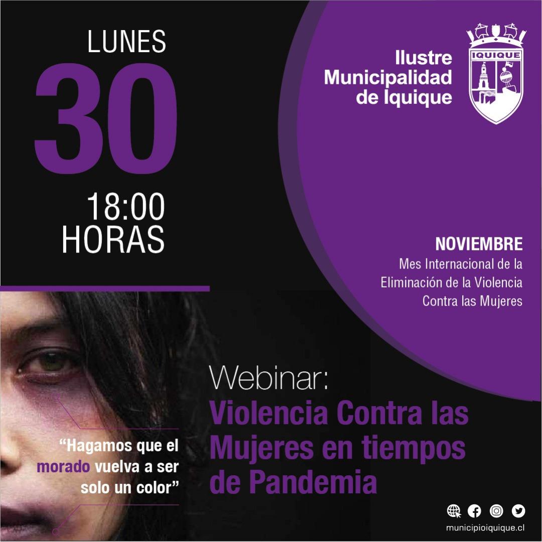 """Municipalidad de Iquique invita a participar del webinar """"Violencia contra las mujeres en tiempos de pandemia"""""""