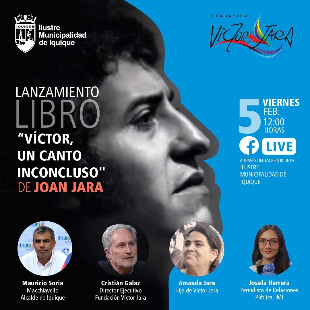 """Municipalidad de Iquique participará en el relanzamiento del libro """"Víctor, un canto inconcluso"""" de Joan Jara"""