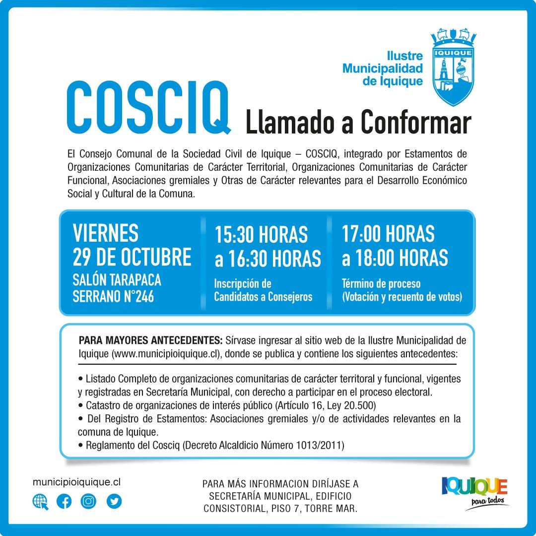 LLAMADO A CONFORMAR COSCIQ 2021